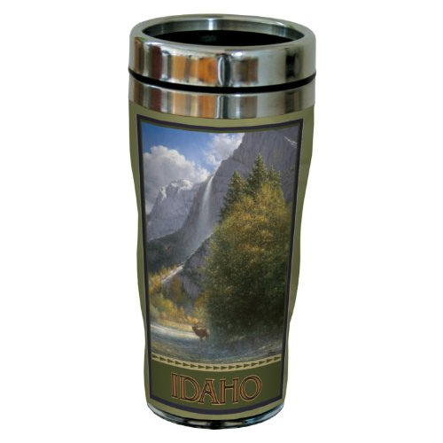 Tree-Free Greetings sg23064 Scenic Idaho Falls with Elk by Jack Terry Stainless Steel Sip 'N Go Travel Tumbler, 16-Ounce, Multicolored