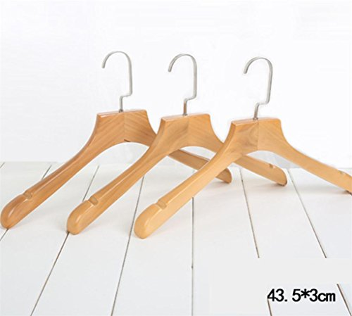 WWZY Hanger Solid wood Retro Non slip Durable Suit Coat Hangers 43.5 25.5 3CM (pack of 10) , 43.525.53cm by WWZY