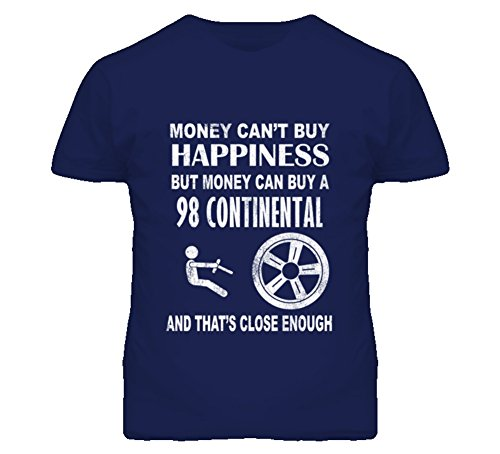 Money Cant Buy Happiness 1998 Lincoln Continental Dark Distressed T Shirt L Navy