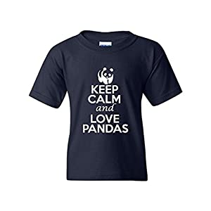 Top-Tshirt Keep Calm and Love Pandas Statement Novelty Youth Kids T-Shirt Tee