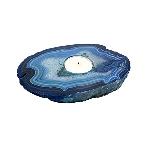 Rock Paradise 1 (One) Agate Thick Geode Slice Candle Holder Exclusive With Certificate of Authenticity AM17B2 (Blue)