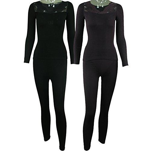 BollyQueena Women's Keep Warm Body Control Thermal Underwear Shapewear Set 2 Packs Black&Purple