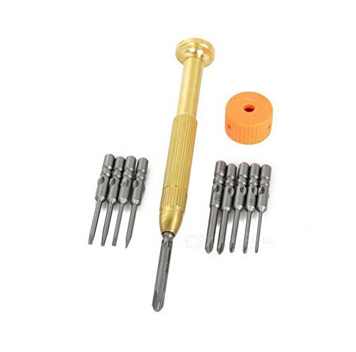WLXY Copper Handle + Screwdriver Bits Set - Bronze + Yellow