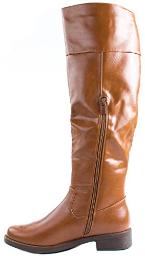 Shaft Extended Women's Riding 14 Tan Forever with Leather Faux Boots Moto Ozxxw4aqC