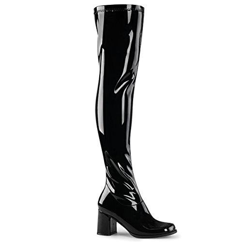 Funtasma Womens GOGO-3000 Boots, Blk STR Pat, Size - (Patent Leather Gogo Boots)