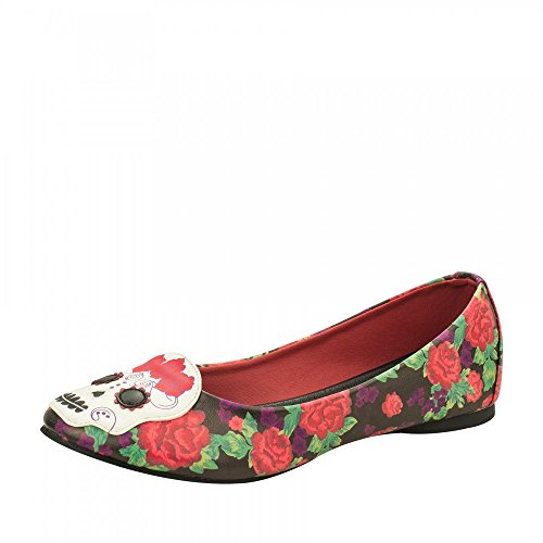 T.U. K. Shoes Character flach Day Of The Dead Totenkopf mit Blumenmuster (39)