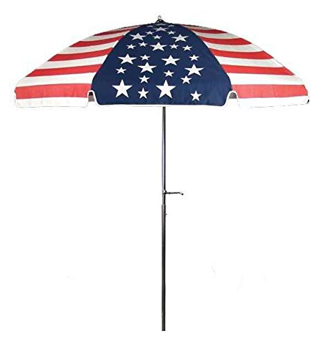 Frankford Umbrellas Laurel Steel Patio Wide Octagon Crank/Tilt Umbrella, Marine Grade American Flag
