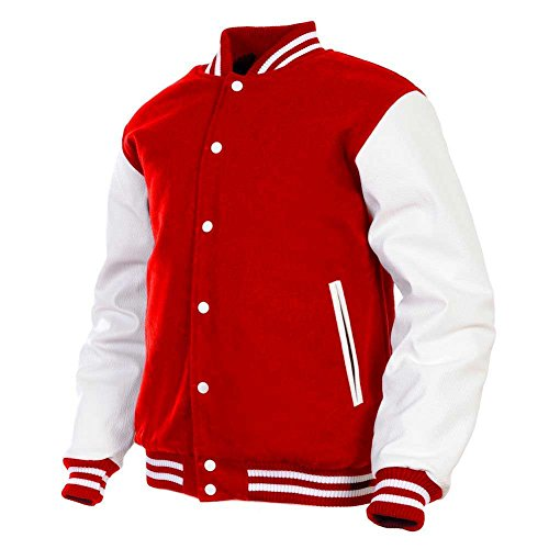 Men's Varsity Jacket Genuine Leather Sleeve and Wool Blend Letterman Boys College Varsity Jackets (Red(AR-2), -