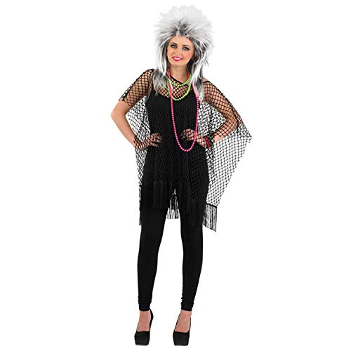 80's Chick Halloween Costumes (Adults Black Punk Rock Poncho 80s Womens Mens Unisex Neon Costume)