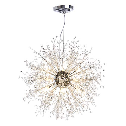 GDNS Chandeliers Firework LED Light Stainless Steel Crystal Pendant Lighting Ceiling Light Fixtures Chandeliers Lighting,Dia 27.5 Inch