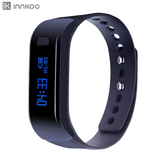 InnKoo U1 Waterproof Fitness Tracker Pedometer Watch Band Calories Counter Smart Sports Bracelet Wristband Activity and Sleep Monitor, Bluetooth Sync Anti-lost Long-time Standby (Black)