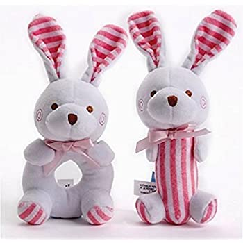 Christmas Baby Gifts Toys Girl-Soft rattle and squeaker set- plush pink Bunny-Stuffed Animal for Newborn Infant Twins