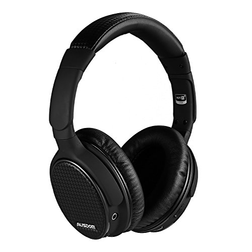 Bluetooth Headphones Wireless Over Ear Headset Built-in Mic Bluetooth 4.0 Headset Ausdom Apt-X Hi-Fi Stereo Deep Bass (Black)