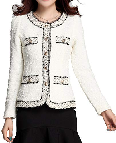 - Niaona Women's Short Blazer Work Office Open Front Cardigan Contrast Lace Jacket White