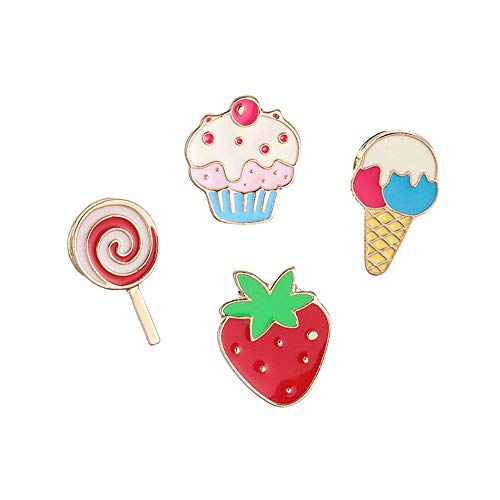 4 Piece/Set Enamel Ice Cream Cake Jeans Clothes Badge Brooch Pin Fashion ()