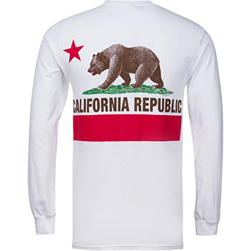 (California State Flag Long Sleeve Back Print Shirt - White X-Large)