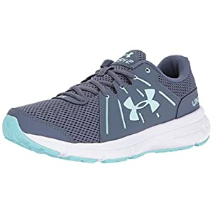 Under Armour Women's Dash 2, Apollo Gray/White/Blue Infinity, 7.5 B(M) US