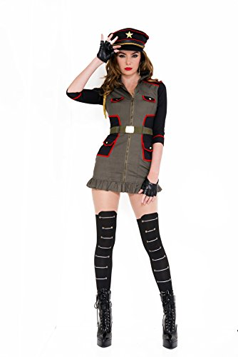 Army Womens General Costume (Music Legs Women's General Curve-A-Geous, Army Green/Black,)