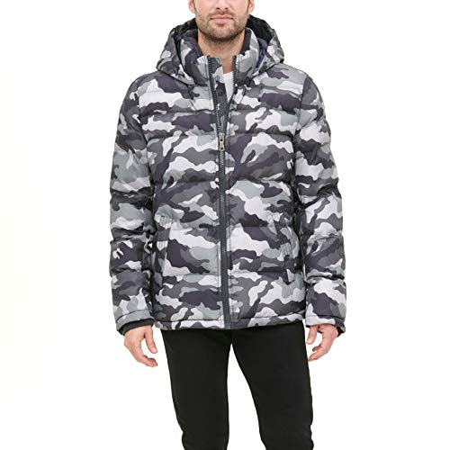 Tommy Hilfiger Men's Classic Hooded Puffer Jacket (Regular and Big & Tall Sizes), Grey Camouflage, Large
