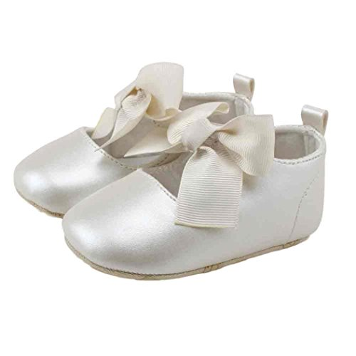 Elaco Infant Baby Girls Moccasins Anti-Slip Soft Sole Princess Shoes (0~6 Month, White New)