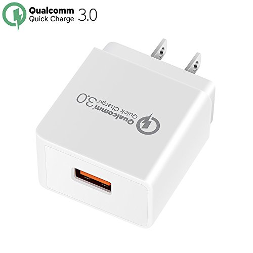 Quick Charge 3.0, YOKERSU 18W USB Wall Charger (Quick Charge 2.0 Compatible)Smart Charging Adapter for Galaxy S7 / S6/Edge/Plus, Note 5/4, LG G4, HTC One A9/M9, Nexus 6, iPhone, iPad and More (White)