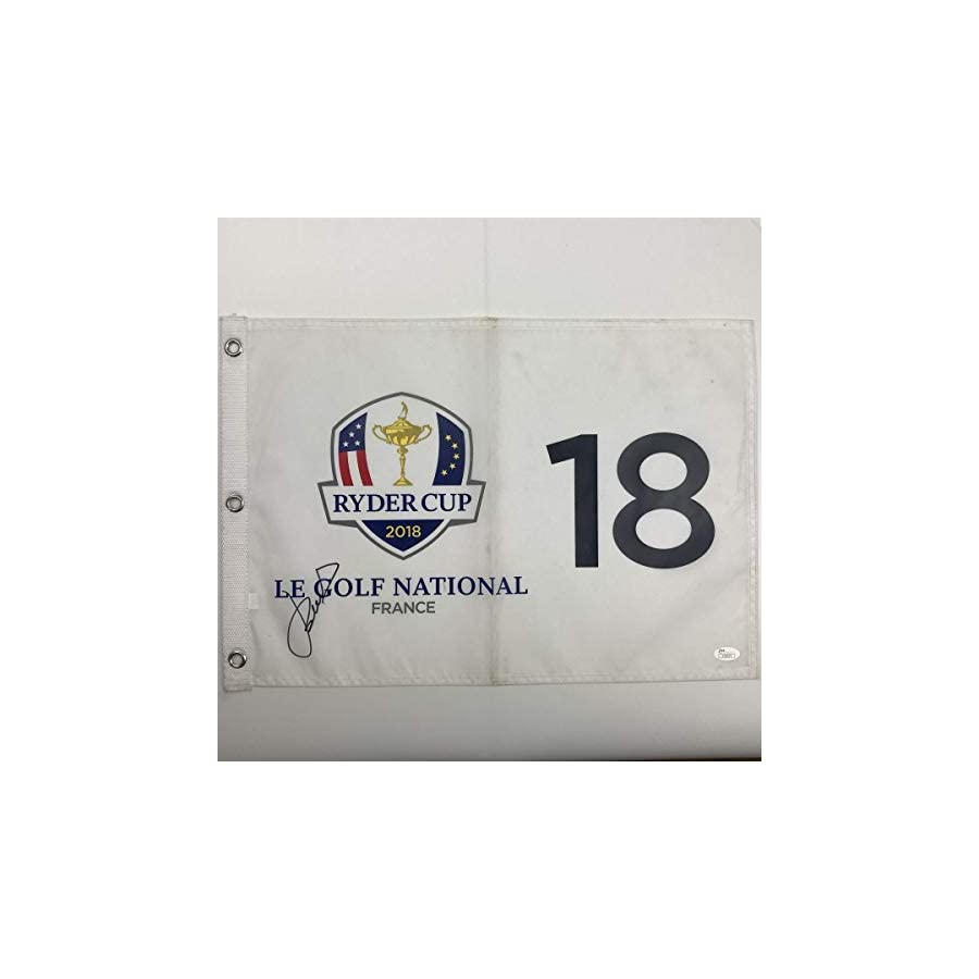 Autographed/Signed JORDAN SPIETH 2018 Ryder Cup France Golf Flag/Pin COA JSA Certified Autographed Pin Flags