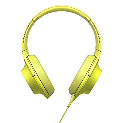 Sony MDR-100AAP h.ear on Stereo Headphones w/ Deep Bass Earphones & Micro Fiber Cleaning Cloth (Lime Yellow)