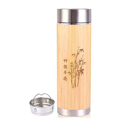 KOBWA Bamboo Tumbler with Tea Infuser & Strainer, 15.8oz Stainless Steel Insulated Thermos Coffee Travel Mug Water Bottle for Loose Leaf Tea and Coffee, Gift for Tea Lovers, Halloween, Christmas -