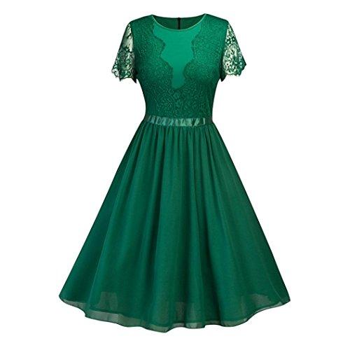 Lightning Deals Floral Lace Dress,ZYooh Women Vintage Lace Cocktail Party Dress Short Sleeve Bridesmaid Dress (Green, XXL)
