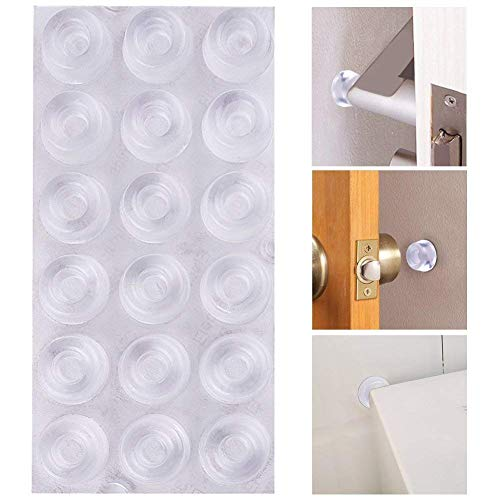 AUSTOR 18 Pack Clear Door Knob Bumpers Self Adhesive Door Stopper Bumpers Wall Protectors Rubber Feet for Furniture, Glass, Electrical -
