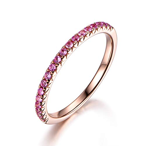 Carleen 14k Solid Gold Sapphire/Ruby/Tsaverite Eternity Band Ring for Women Girls (pink-sapphire, 6)