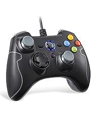 EasySMX Controller Joystick für Spiele mit Kabel mit Dual-Vibration, Turbo und Fronttasten für Windows/Android / PS3 / TV Box (Grau)