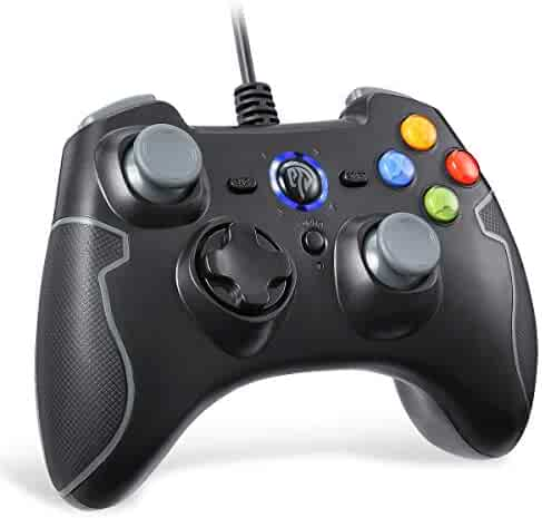 Wired Gaming Controller, EasySMX PC Game Controller Joystick with Dual-Vibration Turbo and Trigger Buttons for Windows/Android/ PS3/ TV Box