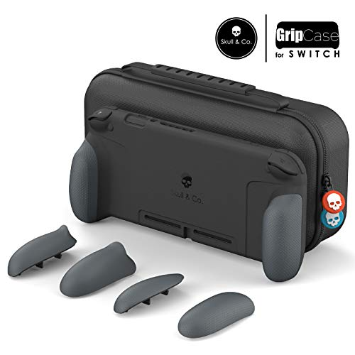Skull & Co. GripCase Set: A Comfortable Protective Case with Replaceable Grips [to fit All Hands Sizes] for Nintendo Switch - Gray
