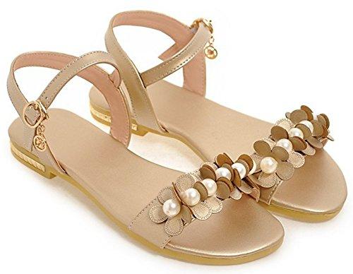 Aisun Women's Comfy Flowers Pearl Ankle-Strap Flat Sandals golden LM6eMG5b