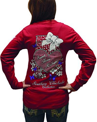 Southern Chickadee Alabama Pride Long Sleeve Tee in Garnet Red - XL ()