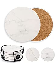 6PCS Absorbent Ceramic Coasters with Cork Backing