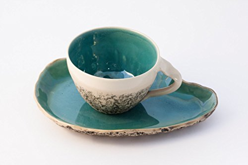 Turquoise Teacup with Saucer, wheel thrown teacup, stoneware cup, handmade mug, Cappuccino Cup, Big coffee cup, Pottery mug, Birthday gift