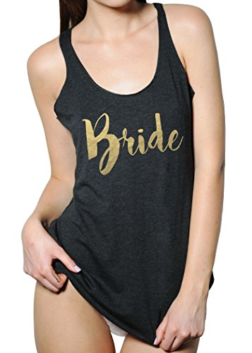 Emdem Apparel Bride Wedding Womens Bridal Tank Top Black Gold -