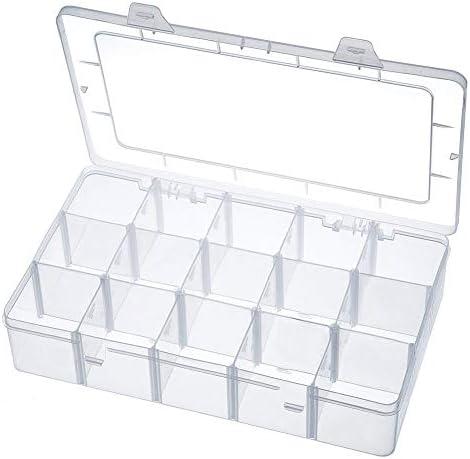 AimdonR Schreibtisch Aufbewahrungsbox, Bastel-Organizer für Washi Tape, Künstlerbedarf und Aufkleber, 15 Fächer, klar, abnehmbar