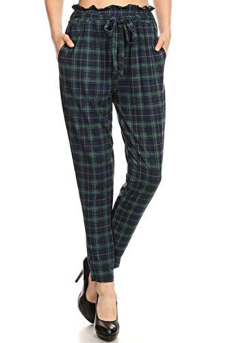 Womens Plaid Pants - ShoSho Womens Solid Color Loose Fit Semi Harem Pants Casual Bottoms Skinny Self Tie Paper Bag Waist Plaid Navy/Green Medium