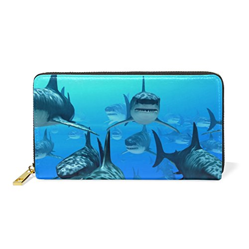 Zip Underwater Around Organizer And Blue 1 Handbags Purses Clutch Pattern TIZORAX Scary Sharks Womens Wallet PqgxvcEw