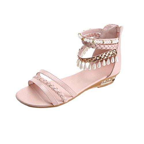 Elevin (tm) Kvinnor Sommarens Mode Peep Toe Pärla Sträng Pärla Elegant Plattform Kilar Sandals Skor Rosa