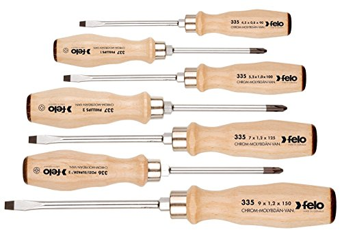 Felo 18108 7 pc Slotted, Phillips and Pozidriv Wooden Handle Screwdriver Set