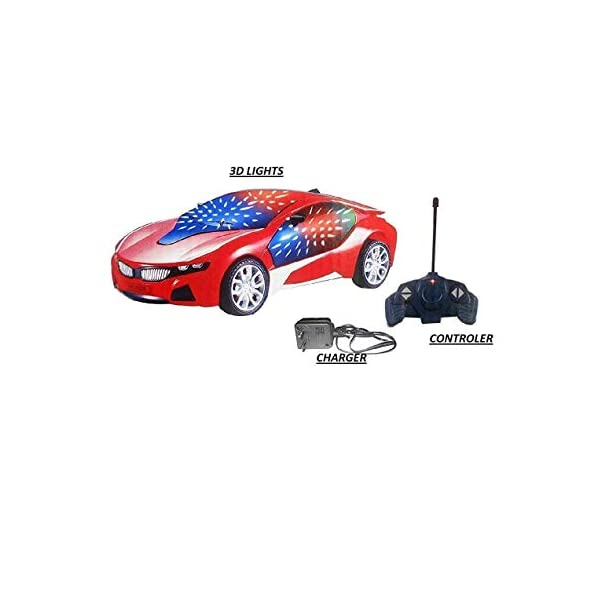 ECOCARE Rechargeable Toy Car For Kids with 27MHz Four Channel Remote Control | 3D LED Lights | 3 AA 700 mAh batteries included