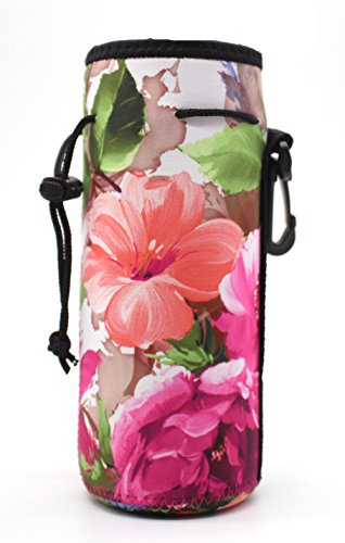 ,Insulated Neoprene Water Gym Travel bottle Holder Bag Protector Sleeve Case Pouch Cover 0.6L or 0.75L, Great for Stainless Steel and Plastic Bottles (FLOWER) (20 Oz Neoprene Bottle)