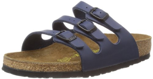 Birkenstock Women's Florida Soft Footbed Birko-Flor  Blue Sandals - 39 M EU