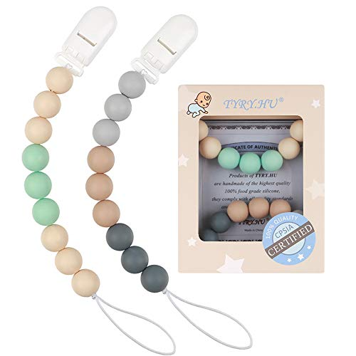 Pacifier Clip TYRY.HU Silicone Teething Beads Paci Holder Soothie Binkie Clips Teether Toy Chewbeads Baby Birthday Shower Gift 2 Pack (Beige, Grey)