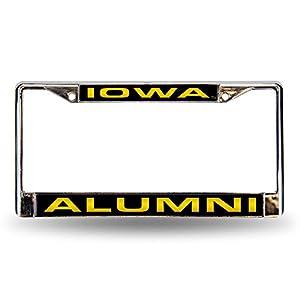 "Rico NCAA Iowa Hawkeyes Laser Cut Inlaid Standard License Plate Frame, Chrome, 6"" x 12.25"""