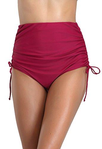FanShou Women Classic Ruched Tie Side High Waisted Bikini Bottom Swim Brief Wine Red - Classic Bikini Brief